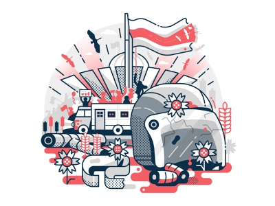 Belarus Freedom vector design scene fight dictatorship line art editorial concept illustration flat design revolution freedom elections protests belarus