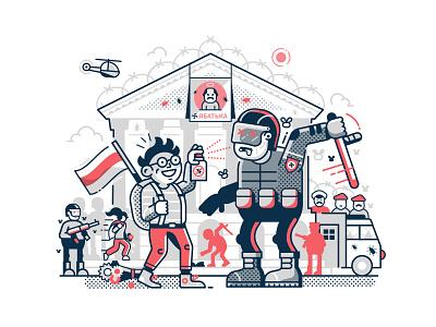 1st September in Belarus line art dictatorship revolution political cartoon police movement belarusian editorial illustration concept freedom demonstrations student protests caricature belarus