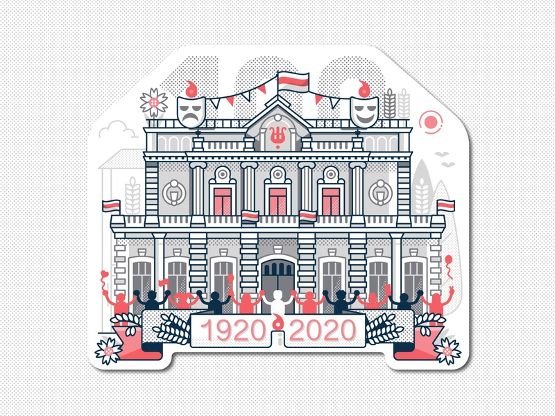 100 Years of Kupalauski Theater Sticker concept building solidarity drama theatres anniversary illustration theater design flat design line art sticker theater kupalauski belarus