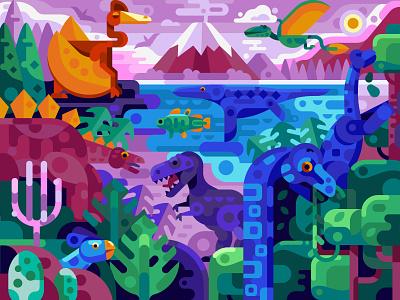Dinosaur Era world jurassic world dinosaurs mobile gaming puzzles coloring page vector landscape scene gaming coloring book game design concept illustration flat design