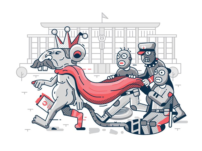 Inauguration Of the Rat King illustration political cartoon flat design line art cartoon caricatura meme political king rat president inauguration lukashenko dictator caricature freedom belarus