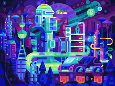 Futuristic Neon Megapolis bladerunner space vector puzzles science fiction mobile games sci-fi scifi futuristic gaming coloring page coloring book game design illustration flat design