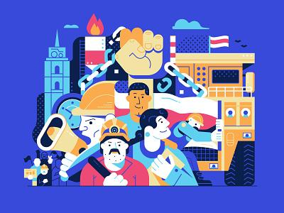 Strike the Regime poster concept revolution editorial design editorial art protests editorial strike movement freedom belarus flat design illustration
