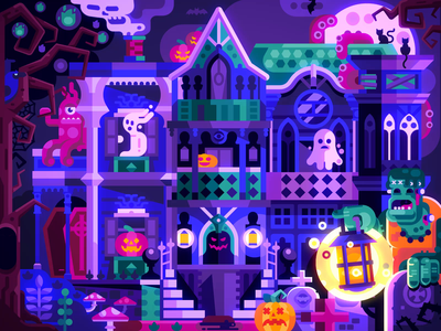 Halloween Evil Mansion Animation vector scene illustration flat design party ghosts haunted haunted mansion halloween design spooky evil mansion house animation motion halloween party halloween