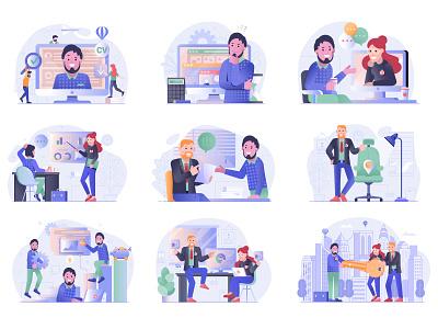 Job Search and Apply Web Illustrations office employee recruitment interview assessment job offer hiring job application job search website illustrations mobile app ui illustration concept flat design