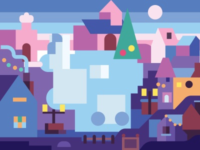Ice Christmas Town game design coloring page gaming coloring book puzzles village sculptures festival ice holiday new years eve new year scene winter city town icerink christmas illustration flat design