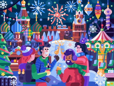 New Year Eve in Moscow fireworks xmas christmas flatdesign gaming puzzles vector coloring page game design friends new years eve new year kremlin russia moscow coloring book winter concept illustration flat design