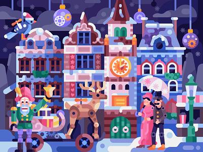 Miniature Winter Town fairytale city puzzles gaming game design coloring book marionette vintage mechanicaltoys toy mechanic puppet wonderland village town miniature christmas winter