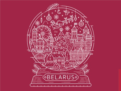 Long Live Belarus! concept print design globe snowglobe tshirt illustration lineart festive landmarks newyear christmas winter belarusian