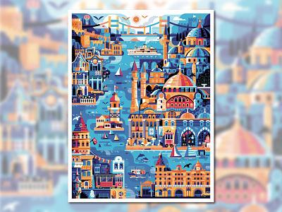 Istanbul Travel Poster city map print design city illustration blue mosque hagia sophia skyline vintage poster flat design landmarks travel map turkish turkey illustration poster design panorama cityscape travel poster poster istanbul