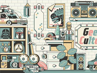Geek's Room scene illustration flat design collection toys interior geek geeky things room shelves pop culture nineties 90s line art gamer gaming stuff geek art