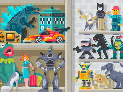 Collection Toys. Vol.1 toy shop superheroes flat design illustration batman robots godzilla interior nineties stuff geeky gamer retro 90s geek art pop culture shelf room toys geek