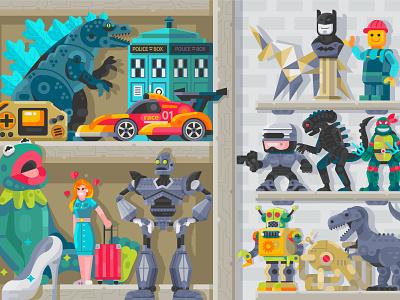 Collection Toys. Vol.1 toy shop superheroes flat design illustration batman robots godzilla interior nineties stuff geeky gamer retro 90s geek art pop culture shelf room toys geek