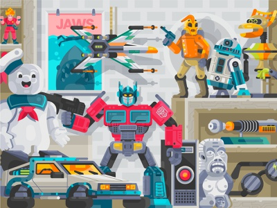 Collection Toys optimus prime transformers ghostbusters star wars interior room shelf 90s pop culture toys retro gamer geek geeky geek art nineties superheros toy shop illustration flat design