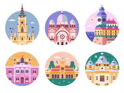 Novi Sad Landmarks Travel Icons tourist serbian serbia hungurian petrovaradin cathedral church architectural architecture monuments travel travel icons novi sad landmarks illustration flat design