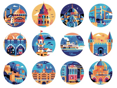 Istanbul Travel Icons illustration logo travel iconset symbols blue mosque hagia sophia flat design tourist landmarks icons turkish turkey istanbul