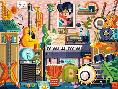 Music Room stuff musician rockstar nostalgic geek shop guitar instruments puzzle game design illustration flat design pop culture elvis rock room music