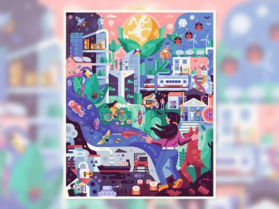 Post-Pandemic World art concept puzzles girl betterworld ecological future book illustration posterdesign editorial flat design earth saveplanet world city green futuristic utopia post-pandemic