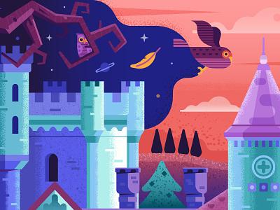 Owl Castle travel landmark serbia fantast victorian illustration flat design textured vector scene forest landscape gothic mansion manor palace fairytale fantasy owl castle