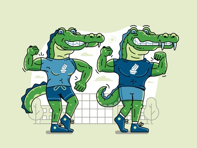 Sporty Alligator Mascot design college animal 2d illustration flat design line art character mascot crocodile alligator