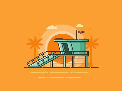 Beach Baywatch Tower observation flat design seaside beach house tower baywatch lifeguard