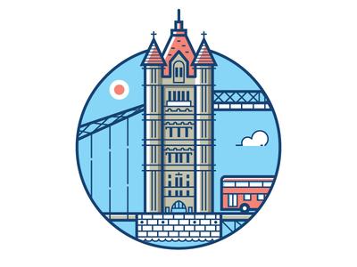 Tower Bridge Sticker great britain uk icon playoff stickermule line art london bridge tower