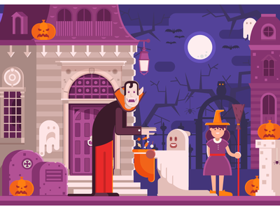 Trick or Treat Halloween Night Scene dracula ghost concept scene mansion house haunted vampire children night trick or treat halloween