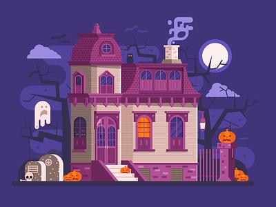 Halloween Haunted House Scene flat design scene ghost old victorian mansion house haunted halloween