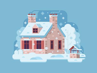 Cozy Winter Nest vector farmhouse flat design rural snow forest scene chalet home house winter