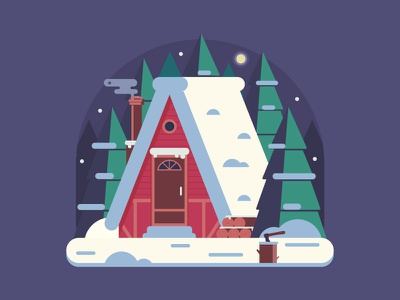 Forest Winter House by Moon Night lumberjack vector farmhouse flat design rural snow forest scene chalet home house winter