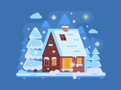 Wooden Cabin in Winter Mountains cabin vector flat design log snow forest scene chalet home house winter