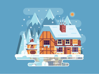 Frost Winter Day on Mountain Lake lake timbered flat design alp cottage chalet mountain home house winter
