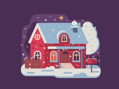 Rural Winter Night snow night flat design cottage chalet rural home house winter