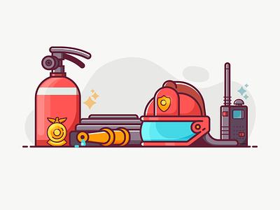 Firefighter Stuff flat design concept banner stuff icons equipment lifestyle fire department fireman firefighter