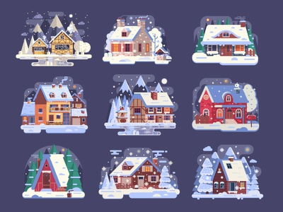 Cozy Winter Houses and Homes flat design night chalet home snow cozy winter house