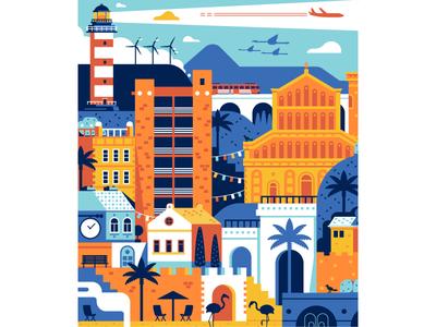 Sardinia Travel Poster Process travel poster flat design summer vacation mediterranean card cagliari sardinia