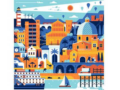 Sardinia Travel Poster wake up day travel poster flat design summer vacation mediterranean festival cagliari sardinia