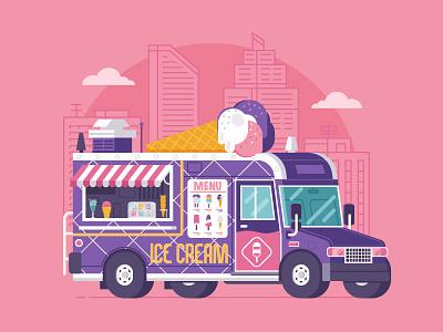 Summer Ice Cream Truck flat design ice-cream parlor ice cream car van truck summer food