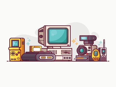 90s Gadgets and Devices gadjets devices tech nineties 90s retro stuff flat design concept lifestyle