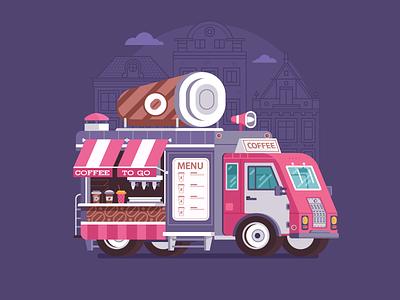 Summer Coffee Van flat design parlor coffee car van truck summer food