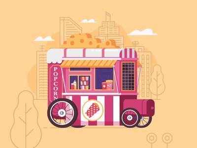 Popcorn Cart. Street Food Series. fast food stall kiosk wheel street food cart popcorn pop corn