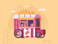 Popcorn Cart. Street Food Series.