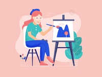 Artist Girl Drawing on Canvas