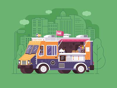 Street Food Van flat design parlor burger. fast street car van truck summer food