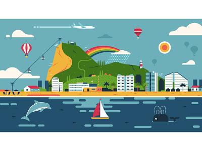Gibraltar Idyllic Landscape rock flat design panorama illustration landscape skyline gibraltar