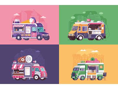 Street Food Trucks and Vans flat design parlor street caravan car van truck summer food