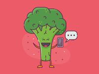 Happy Broccoli with Smartphone