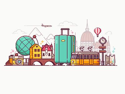 Europe Travel Time eurotour vacation tram budapest illustration concept banner flat design travel europe