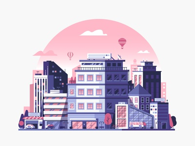 Modern City Urban Environment building office environment illustration flat design architecture scape skyline urban modern cityscape city