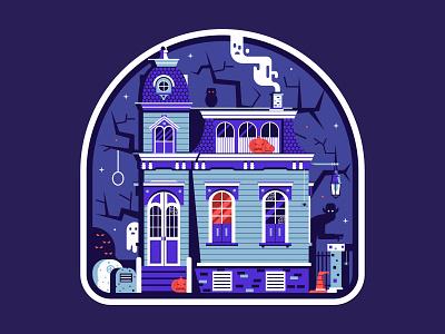 Halloween Spooky House Sticker night ghost emblem flat design victorian gothic haunted mansion house spooky sticker halloween